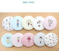 10pcs/lot Cute Cartoon Characters Metal Makeup Pocket Mirror / Handle Portable Cosmetic Mirrors for Ladies and Girls Wholesale