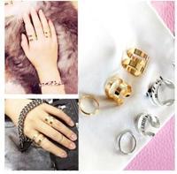 3pcs/set Korean Jewelry Master Kong Hyo Jin Sun Jun Gold Silver Plated Ring Tail Ring Opening Three-piece Combination Ring