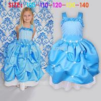 2014 frozen sleeveless tutu braces skirt children kids autumn blue dresses with flower /party tutu/ princess skirt dress