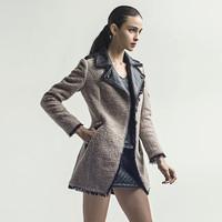 In the new winter slim slim coat mosaic coat large lapel woollen overcoat