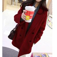 Korean double breasted style women's wool coat jacket