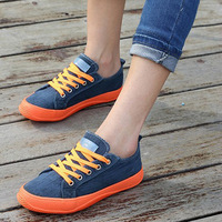 Candy Color Unisex Lace-up Sneakers 2014 New Lovers Canvas Flats Eu 35-43 Breathable Korean Men & Women Casual Shoes