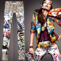 2014 new DSQ Brand Plus size  thin elastic print leopard print elastic jeans skinny pants tight