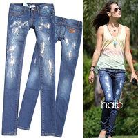 2014 new DSQ Brand Spring square hole metal  dark color patch slim jeans  skinny pants