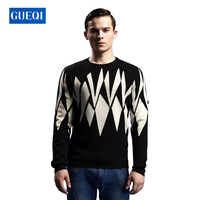 2014 New autumn England style woolen round neck solid geometry design fashion men's gentle sweater with good quality arrival
