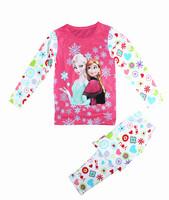1 set =2pcs2014 New Arrived  frozen girls Anna Elsa long sleeve Fall Winter pajamas sleepwear 100%cotton  Free shipping j054