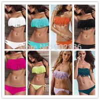 Sexy Tassels Bikini Sets Bandage Tassels Low Waist Strapless Women Swimwear Bathing Swimsuit 3010