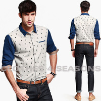 2014 New Long Sleeve Cute Foot Printed Shirts Men,Europe Hippies Style Quality Boys Outerwear Shirts,Outdoor Cotton Shirt