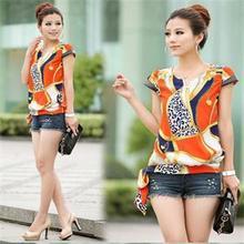 Summer Fashion Elegant Vintage Chiffon Women Blouse V-Neck Short Sleeve Print Shirts Blouses Tops Women Blue Orange Size S-XL(China (Mainland))