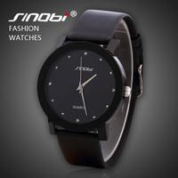 Fashion Sinobi Brand Men's Casual Quartz Watches Rhinestone Dia lLeather Strap Watches Men Dress Clock Military Watches