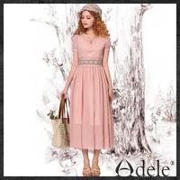 2014 Summer lace embroidery dresses women's short sleeves chiffon dress LA11043X