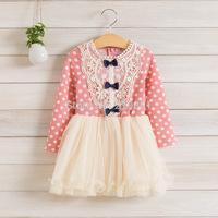 2014 Girls autumn lace bow dress , kids girl clothes ,5pcs/lot   DMJ08