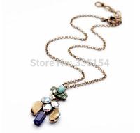 2014 Women Vintage Pendant Short Chains Necklace Crystal Pendant Chains Necklace 13pcs/lot FREE SHIPPING