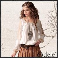 Wholsale 2014 Autumn Women's long sleeves embroidery blouse shirt SA10242C