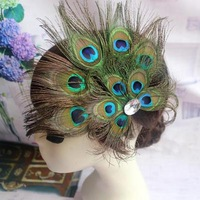 Peacock feather dance hairpin bride feather headwear fashion stage hair decoration peacock hairpin