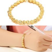 Romantic Heart Design Women Wedding Bridal Jewelry Luxury 18K Real Gold Plated Bracelets & Bangles 421