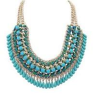 Layered Bohemian Resin Tassels Vintage Weave Multilayer Collar Necklace Choker Chain Bib Statement Necklace & Pendants Wholesale