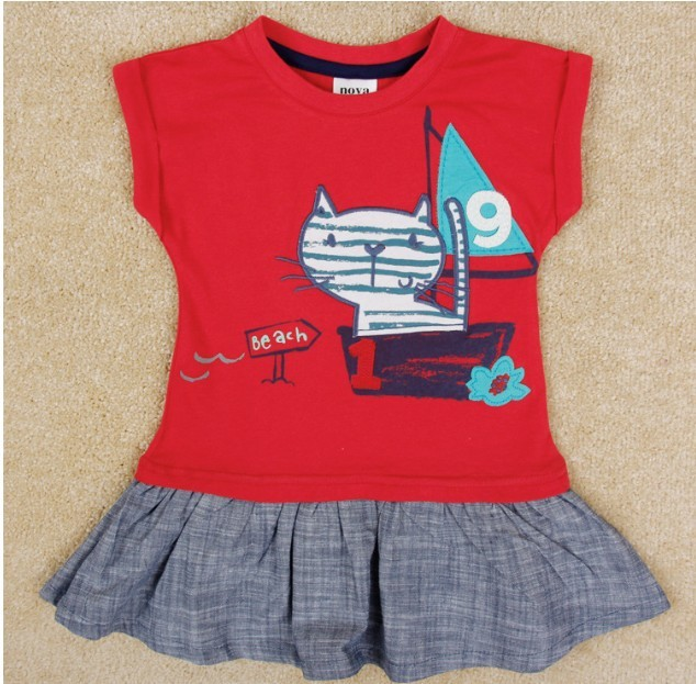 Free shipping 2014 New Summer Girls Cats dress 100% Cotton Kids Printed Casual dresses Baby Princess dress NOVA Cartoon Clothing(China (Mainland))