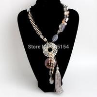 2014 Women Rope Braided Handmade Necklace imitation Gemstone Cyrstal Tassel Necklace Retail FREE SHIPPING