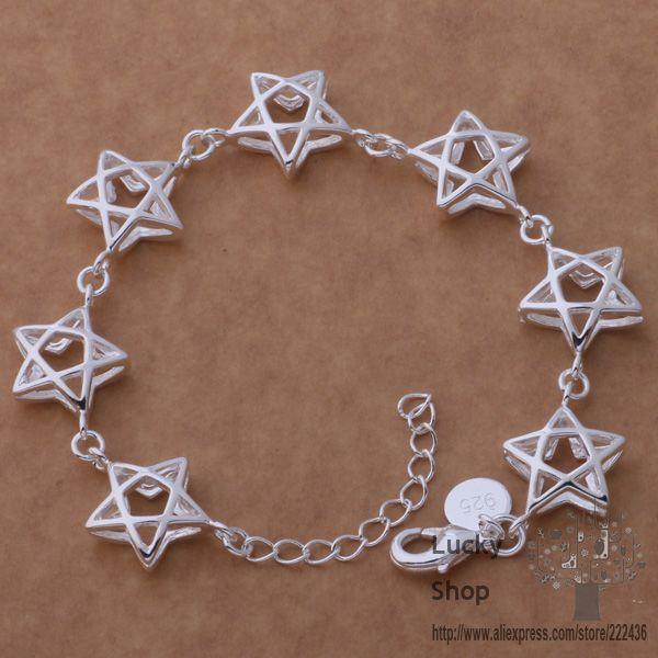 AH161 925 sterling silver bracelet, 925 sterling silver fashion jewelry All big five-pointed star /azzajrga erraniya(China (Mainland))