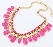 Pink cameo bib choker necklace women/kpop blue gypsy bohemian jewelry collares fashion 2014 colors/maxi colar/bisuteria/jewelery