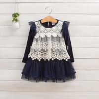 Girls autumn lace knit dress , girls tutu dress ,5pcs/lot   DMJ09