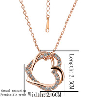 [18K] Crystal Cross Heart Rose Gold Plating Necklace , Good Quality Nickel And Lead Free Gold Plating Fashion Necklace