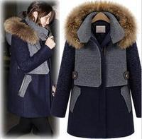 New cloak woolen overcoat female winter warm zipper jackets ladies brand hooded coat for women Fur collar long Outwear(00084)