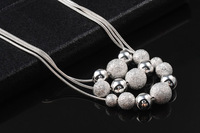 GSSPP009 fashion silver plated women balls necklaces,fashion jewelry,women necklace ,Girls Birthday gift,wholesale