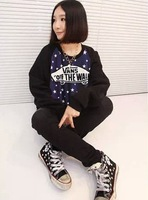 New 2014 Winter Korean Fashion Cotton Stars Print  Sweatshirts Hoddies Full Sleeve Tee Tops girl t shirt women Free Shipping 818