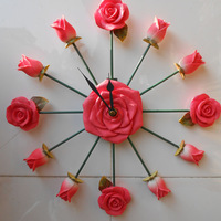 Free shipping 1Piece Resin Rose Wall Clock / Great Valentine's Gift/ NOVELTY home clock