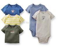 retail! Original carter's baby boy 5 pc short sleeve bodysuit set,100%cotton,5pcs/lot,free shipping