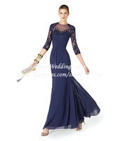 Formal Elegant Long Evening Dresses Lace Gowns Purple With 3/4 Lace Sleeves Vestido De Festa