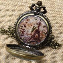 Antique Torre Eiffel Número Roma cuarzo reloj de bolsillo collar colgante P191(China (Mainland))