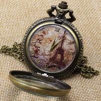 Antique Eiffel Tower Rome Number Quartz Pocket Watch Necklace Pendant P191