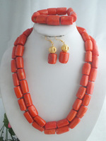 Pretty Hot Pink Coral  Nigerian Wedding African Beads Bridal Jewelry Set A-1983