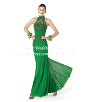 Sexy Halter Green Lace Evening Dress 2014 Chiffon Floor Length Party Gown MC031 vestido longo de festa