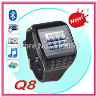 Dual Mobile phone Card Q8 smart bluetooth watch phone, 2.0M spy camera,FM,touch screen, keyboard, MP3/MP4, unlock