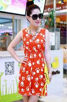 2014 New Fashion Summer free shipping cute dog foot women dress