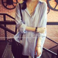 Lapel striped long loose shirt 8201-C705-P45