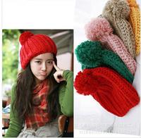 Hight Quality 2014 Women's Winter Slouch Knit Cap Warm Oversized Cuffed Beanie Crochet Ski Bobble Beanies knitting wool Hat