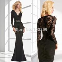 2014 Style Fashionable Deep V Neck Black Chiffon Lace Long Sleeves Mermaid Mother of Bride Dresses Romantic