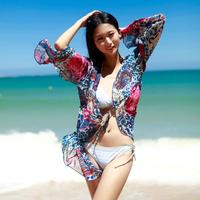 2014Summer UV Resistance Sun-protection clothing anti-uv Beach Cover up Bikini Cardigan Chiffon Sexy long-sleeve outerwear Lady