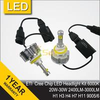 Free Shipping 2014 NEW 60W ETI Cree Chip LED Headlight Conversion Kit H8 H9 H11 9005 9006 H4 H7 H1 7200LM 12V 24V IP68 6500K