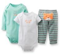 wholesale  New Arrival carter's original baby boy 3pcs bodysuit with pants set, 100%cotton, carter's baby layette set,5sets/lot