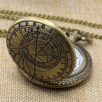 Retro Bronze Pattern Pendant Chain Quartz Pocket Watch Men Women Gifts P208