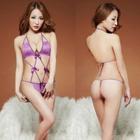 Free shipping adult products within the taste temptation beauty plump underwear uniforms sexy Halter Leise charm purple leotard