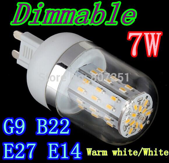HOT 48led SMD 3014 E27 E14 B22 G9 7W Dimmable led corn bulb lamps AC 85V-265V led lighting led corn lighting free shipping(China (Mainland))