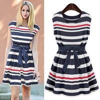 European fashion stripe sleeveless dresses for ladies knitted long vestidos