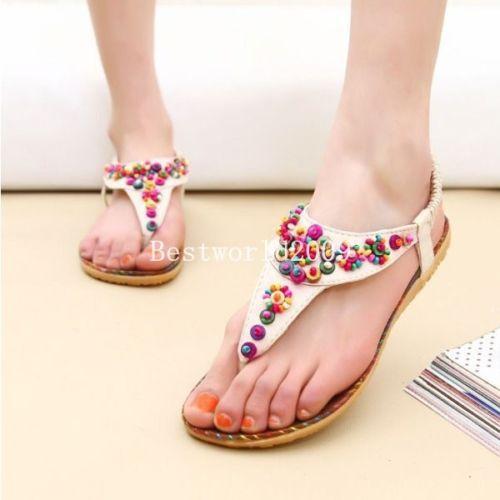 Forma das mulheres das senhoras verão Thong Sandals Flats Toe Post Flip Flops Casual Boho Shoes 2 cores asiático tamanho 38 39 40(China (Mainland))